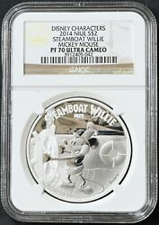 2014 Niue 2 Disney Steamboat Willie Mickey Mouse Silver Proof Coin Ngc Pf70 Uc