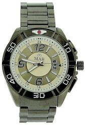 Mab London Gents Calendar White And Silver Dial Gun-metal Case And Metal Strap Watch