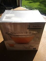 18 Piece Anchor Hocking Punch Bowl Set Victoria Bowl Ladle Cups And S Hooks New