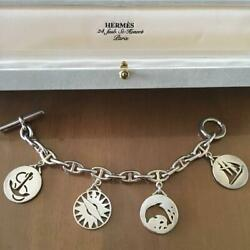 Hermes Chain Dand039ancre Silver Bracelet Marine Limited B423