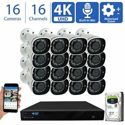 16 4k 8mp Motorized Zoom Microphone Poe Nvr Ai Bullet Security Camera System