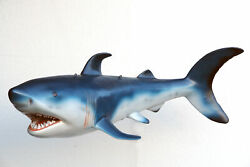 55 Hanging Blue Shark With Mouth Open Life Size Resin Statue Prop Display