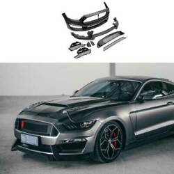 Gt350 Mp Primer Black Front Center Mesh Grille Grill For Ford Mustang 2015-2017