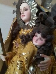 Antique Mary Joseph And Baby Jesus Wood 23 Tall X 11 Wide Body And Stand