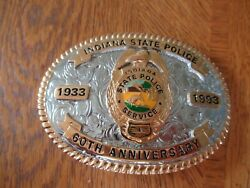 Indiana State Police 60th Anniversary Badge Belt Buckle Made By Creative Casting