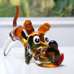 Nordic Hand Blown Glass Dog Figurines Crystal Animal Sculpture Office Decor