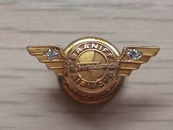 Braniff International Airlines 10k Gold Double Diamonds Wing Pin Rare