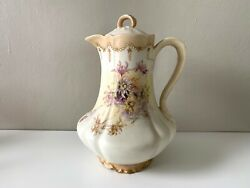 Antique Haviland And Co Limoges France Chocolate Pot + Hand-painted And Heavy