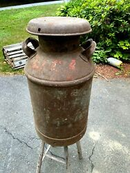 Vintage 10 Gallon Steel Milk Can - Signed Hood - As Found