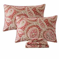 Fadfay Luxury Paisley Sheets Set King Classy Red And Gold Floral King red