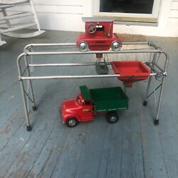 Wow Vintage 1955 Tonka Toys Pressed Steel No.922 Aerial Sand Loader And Dump Truck
