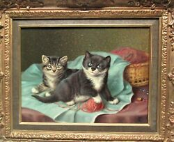 Museum Quality Antique Horatio Henry Couldery Oil Painting Of Cats C. 1880
