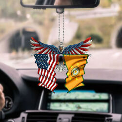 Cherokee Nation And United States Patriot Eagle Flag Car Ornament Independence Day