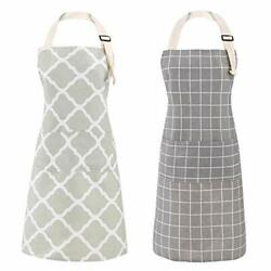 Aoomzoon 2 Pack Cooking Aprons For Women With Pockets Cotton Linen Adjustable...