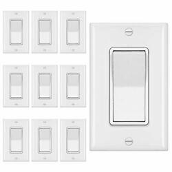 10 Pack Bestten 3-way Decorator Wall Light Switch With Wallplate 15a 120v On/...