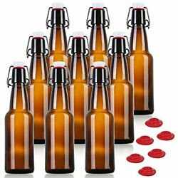 Yeboda 12 Oz Amber Glass Beer Bottles For Home Brewing With Flip Caps Case Of 9