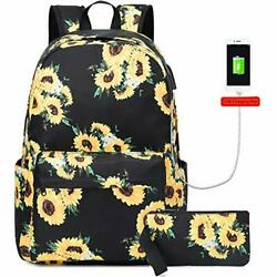 Sunflower Canvas Backpack for College Girls Women with USB Charging Port $46.74