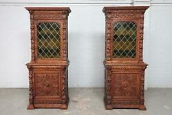 Pair Of Carved French Oak Matching Server - Sideboard Cabinets - Bae8876