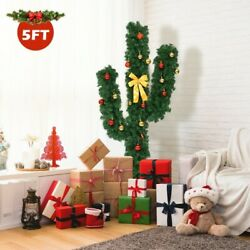 5ft Pre-lit Cactus Artificial Christmas Tree W/led Lights And Ball Ornaments