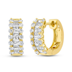 1.10ct 14k Yellow Gold Natural Diamond Baguette And Round Huggie Mini Hoop Earring