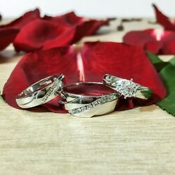 His Hers Trio Set Matching 14k White Gold Wedding Engagement Ring Solitaire