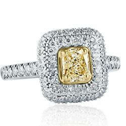 1.23 Carat Coupe Coussin Jaune Fianandccedilailles Diamant Double Halo Ring 18k Or Blanc