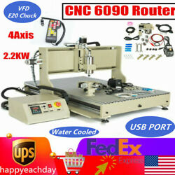 Usb 4axis Cnc 6090 Router Engraver Wood Carving Milling Machine 2.2kw +handwheel