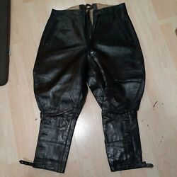 Black Vintage Leather Motorcycle Breeches German Trousers From The 1950's
