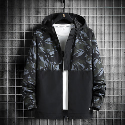 Menand039s Jackets Hooded Tops Color Stitching Casual Workwear Jackets