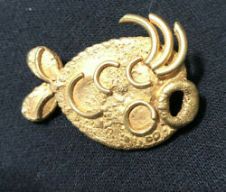 Vintage French Gold Metal Resin Brooch Line Vautrin Student Pin Fish