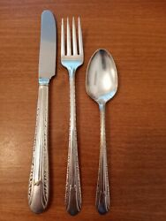 Antique Vtg Wm Rogers Is Silver Plated Knife, Fork, And Spoon Silverware