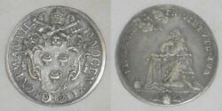 1697 Silver Coin Italian Papal State Half Piastra Pope Innocent Xii Anno Vii