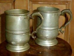 Pair Of Antique Early Victorian Pewter 1 Pint Tankards, C1840, Af