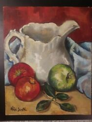 Alice Scott 1956 Still Life Oilthe Cracked Pitcher Awesome Piece Sign An Dated