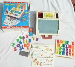 Vintage Fisher Price Play Desk Chalk Board Spelling Cards Magnetic Letters