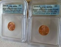 2005 P And D Lincoln Cents Icg Certified Sp69 1st Strike Satin Finish
