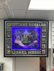 Cristiano Ronaldo And And Lionel Messi Signed Football Boots Autographed Display