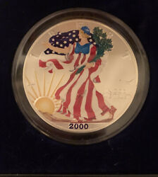 Colorized 2000 American Eagle Silver Dollar 1 Ounce Of .999 Pure Silver