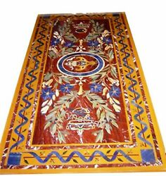 30 X 60 Inches Marble Dining Table Top Pietra Dura Art Kitchen Table For Decor