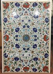 36x48 Marble Restaurant Table Multi Color Stone Inlaid Work Dining Table Top