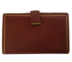 Vintage Wallet Women's Genuine Leather Burgundy Red Gold Trim Clutch Made Italy $18.99