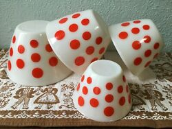 Vintage Fire King Ivory Milk Glass Red Polka Dots Complete Set Of Mixing Bowls