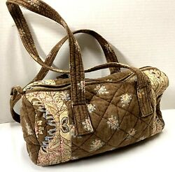 Les Olivades Floral Pouch Bag Barrel Shape Cloth Fabric Made In France