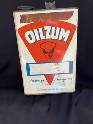 Vtg Oilzum Oil Can One Gallon Size With Cap