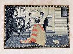 1890 Jacquard Silk Weave Betsy Ross Making And Presentation Usa Flag Anderson Bro