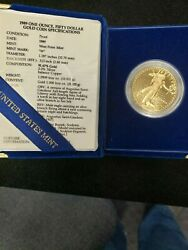 1989-w American Gold Eagle Proof 1 Oz 50 In Ogp
