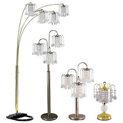Hongville Brushed Steel Base W/glass Crystal-like Shades Touch Lamp/floor Lamp