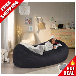 Adult Bean Bag Chair Giant Lazy Couch Dorm Furniture 8 ft. Sofa Lounge Black NEW