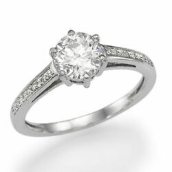 1 1/3 Ct Diamond Engagement Ring Round Cut D/vs2-si1 14k White Gold Size 6