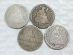 Lot Of 4 Varieties Of Seated Liberty Quarters 1843 1853 1854 1876 Q3h2